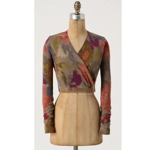 Anthro Guinevere watercolor cropped cardigan sz S